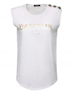 T-shirt BALMAIN sans manches pour femme avec logo et boutons dorés - SS21