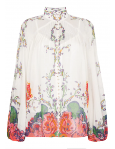 ZIMMERMAN white blouse with high collar and floral paisley pattern for women - SS21