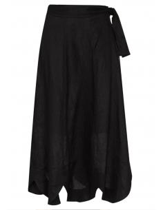 Jupe à festons ZIMMERMANN en lin noir avec ceinture nouée - SS21