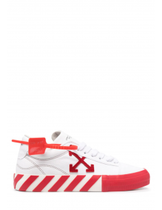 """Baskets mixtes OFF-WHITE """"Vulcanized"""" en toile rouge et blanche à bout rond - SS21"""