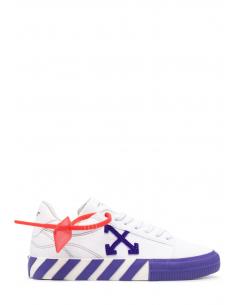 """Baskets mixtes OFF-WHITE """"Vulcanized"""" en toile blanche et violette à bout rond - SS21"""