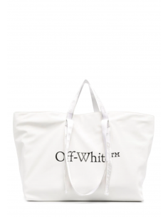 Large white OFF-WHITE polyester tote bag with logo - SS21