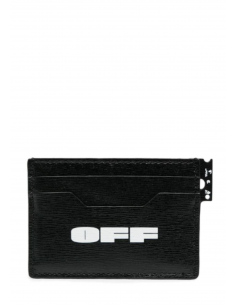 OFF-WHITE multi-pockets card holder in textured black leather with logo - SS21