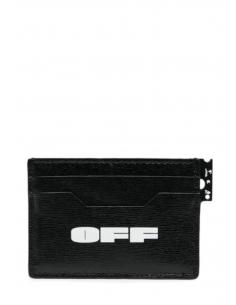 Porte-cartes OFF-WHITE multi-pochettes en cuir noir texturé avec logo - SS21