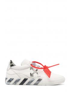 """Baskets mixtes OFF-WHITE """"Vulcanized"""" en toile grise et blanche à bout rond - SS21"""