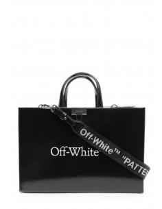 """Sac à main """"box"""" noir verni de taille medium avec logo imprimé pour femme - SS21"""