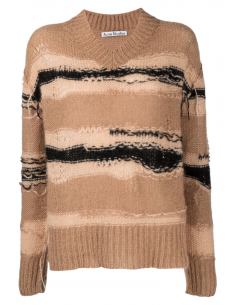 ACNE STUDIOS wide striped sweater for women in brown unstitched effect - SS21