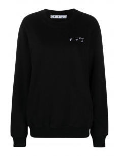 """OFF WHITE black sweater for women with logo and tie dye """"Arrows"""" cross print - SS21"""