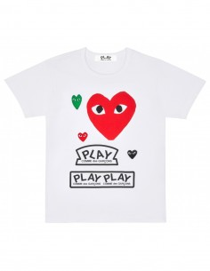 CDG PLAY White tee with multi hearts