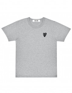 COMME DES GARCONS PLAY grey tee with two black hearts.