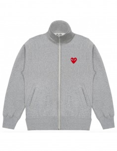 High collar sweater in grey with hearts on back cdg play