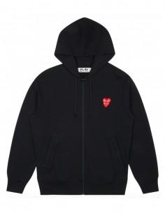 Sweat zippé à capuche noir COMME DES GARCONS PLAY avec double coeur rouge devant.