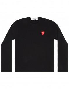 T-shirt noir à manches longues avec coeur rouge cdg play