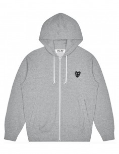 cdg play Grey zipped hoodie with black heart