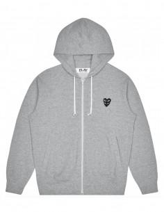 cdg play Sweat zippé à capuche gris avec coeur noir