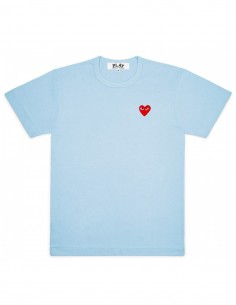cdg play Light blue tee with red heart