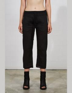 THOM KROM black bi-material 7/8 trousers for women - SS21