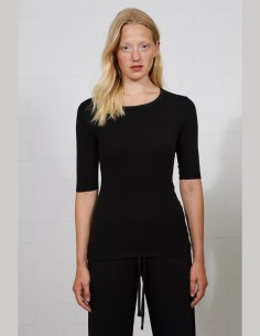 Black t-shirt THOM KROM for women with ribbed knit - SS21