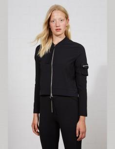 THOM KROM black zipped bomber jacket for women - SS21
