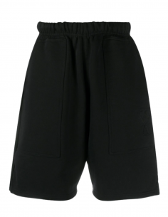 AMI PARIS Bermuda shorts in black cotton for men with embroidered logo - SS21