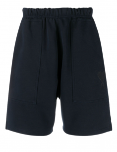 AMI PARIS Bermuda shorts in blue cotton for men with embroidered logo - SS21