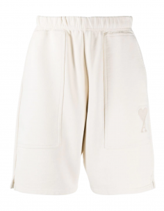 AMI PARIS Bermuda shorts in beige cotton for men with embroidered logo - SS21