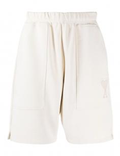 Bermuda AMI PARIS en coton beige pour homme avec logo brodé - SS21