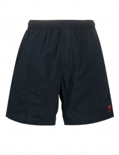 AMI PARIS navy blue swim shorts with embroidered logo for men - SS21