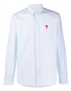 """Chemise """"Best Friend"""" AMI PARIS rayée  bleu et blanc avec logo pour homme - SS21"""