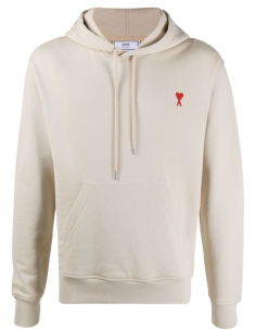 AMI PARIS beige hoodie for men with embroidered logo - SS21