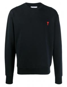 Pull classique noir AMI PARIS pour homme avec logo brodé - SS21