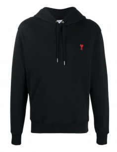 AMI PARIS black cotton hoodie for men with embroidered logo - SS21
