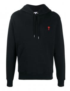 Sweatshirt en coton noir AMI PARIS pour homme avec logo brodé - SS21