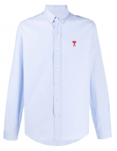 """AMI PARIS light blue """"Oxford"""" shirt for men with embroidered logo - SS21"""