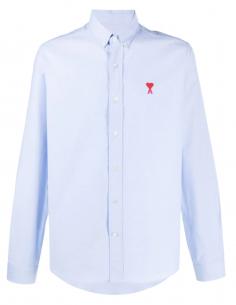 """Chemise """"Oxford""""  bleue ciel AMI PARIS pour homme avec logo brodé - SS21"""