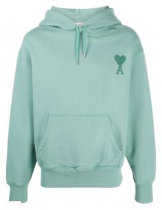 Sweat à capuche AMI PARIS vert pour homme avec logo brodé - SS21