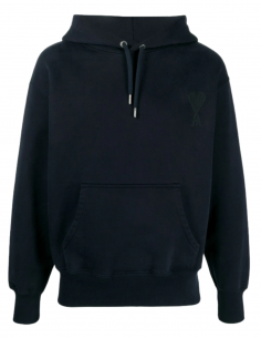 AMI PARIS blue hoodie for men with embroidered logo - SS21