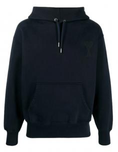 Sweat à capuche AMI PARIS bleu pour homme avec logo brodé - SS21