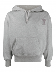 AMI PARIS grey hoodie for men with embroidered logo - SS21