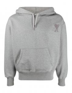 Sweat à capuche AMI PARIS gris pour homme avec logo brodé - SS21