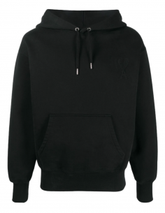 AMI PARIS black hoodie for men with embroidered logo - SS21