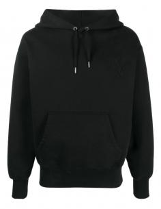 Sweat à capuche AMI PARIS noir pour homme avec logo brodé - SS21