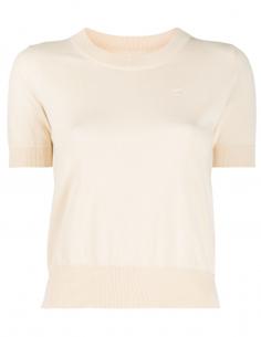 Pull à manches courtes beige MAISON MARGIELA pour femme avec logo - SS21