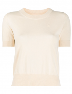 MAISON MARGIELA beige short-sleeved pullover for women with logo - SS21