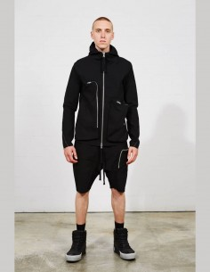 THOM KROM sweat zippé à capuche noir multi poches