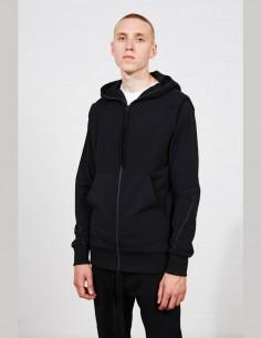 Black THOM KROM bi-material zipped hoodie for men - SS21