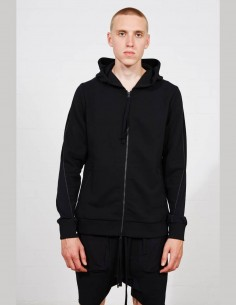 THOM KROM black bi-material zipped hooded sweatshirt for men with stitching - SS21