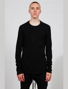 T-shirt THOM KROM noir à manches longues en jersey côtelé pour homme - SS21