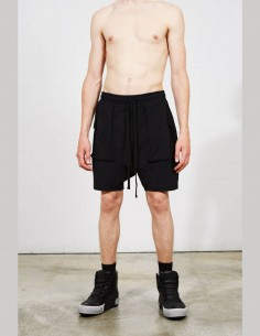 THOM KROM black nylon multi-pocket shorts with baggy effect for men - SS21