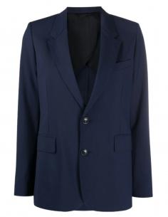 Veste de blazer bleue marine AMI PARIS coupe droite pour femme - SS21